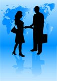 Business. Silhouette of business deal between man and woman vector illustration