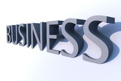 Business 3D. Word. Light Blue  Render Word. Righ Side View Stock Photography