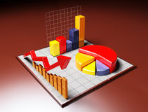 Business 3D graph with arrow. 3d image on dark backgroud Stock Photo