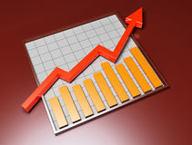 Business 3D graph with arrow. 3d image on dark backgroud Stock Image