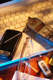 Business. Set of business equipment with cool lighting stock photography