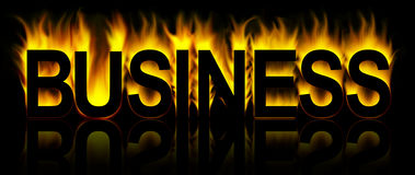 Business. Word in fire background Royalty Free Stock Images