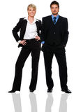Business. Young business couple standing on white background Stock Photo
