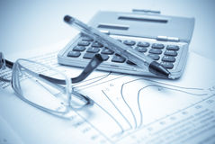 Business. Concept:pen,spectacles,calculator and Royalty Free Stock Image
