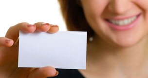 Business. Women with a business card. Shallow DOF Stock Photo