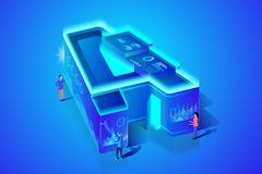Business ABC Letter A Isometric Vector Concept stock illustration