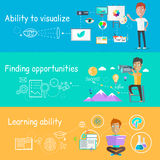 Business Ability of Visualize Learning. Finding opportunities, professional learn and development, skill and motivation, vision strategy, person creative man royalty free illustration