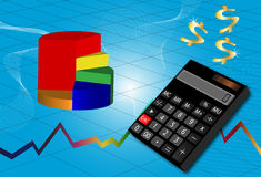 Business abstract background. With graphics and calculator Royalty Free Stock Photos