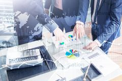 Business abstract background double exposure graph, chart and diagram. World wide map and. Global business and financial trading royalty free illustration