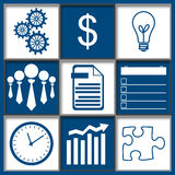 Business Abstract Grid Blue White. Business concept image with a grid containing business symbols vector illustration