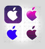 Business Abstract icon apple-heart. Business Abstract vector icon apple-heart vector illustration