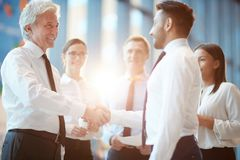 Business acceptance. Successful young and mature businessmen expressing striking of new deal by handshake Royalty Free Stock Images