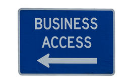 Business Access road directional sign Stock Photo
