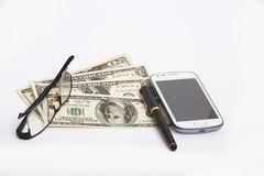 Business accessories: Wallet, Money, Glasses, mobile and Pen Royalty Free Stock Photography