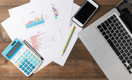 Business accessories on work desk Stock Images