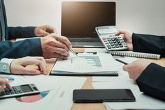 Business account team meeting with report management. New project stock image