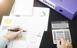 Business accountants with documents graph financial on office. Table. concept planning budget, audit Royalty Free Stock Image
