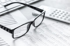 Business accounter work with taxes and calculator on office desk. Background Royalty Free Stock Images