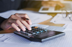 business accounting concept businesswoman and laptop with calcul Stock Photography