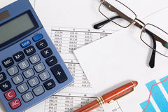 Business accounting and finance. Balance and calculating results of a business accounting Stock Image