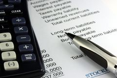 Business accounting income statement Stock Image