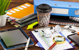 Business accounting. Business Objects office expanded in composition on a table Stock Photography