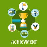 Business, achievment and success flat icons Stock Photo