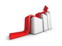 Business Achivement Concept bar Graph Wiyh Rising Arrow Royalty Free Stock Photography