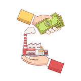 Business acquisition deal. Buying and selling factory for a money. Hands holding cash and production plant. Modern flat style thin line vector illustration Stock Image