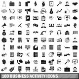 100 business activity icons set, simple style. 100 business activity icons set in simple style for any design vector illustration Stock Images
