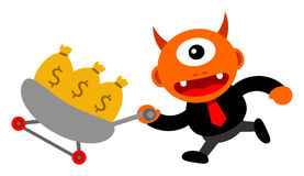 Business activity. Illustration of monster cartoon character in business activity Royalty Free Stock Image