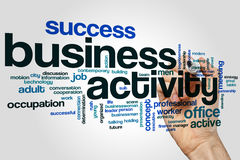 Business activity word cloud concept on grey background.  royalty free stock image