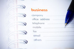 Business address. Empty business address on a note book Royalty Free Stock Photography