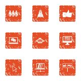 Business administration icons set, grunge style. Business administration icons set. Grunge set of 9 business administration vector icons for web isolated on Royalty Free Stock Images