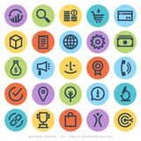 Business Administration Symbols. On circular buttons on white background Royalty Free Stock Photography