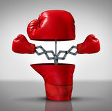 Business Advantage. And innovation strategy concept as an open boxing glove with two more fighting symbols emerging as an icon of covering your bases and Stock Photos