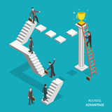 Business advantage isometric flat vector concept. Businessmen are trying to get the winner cup, and only the one of them has red ladder to get it fastest Royalty Free Stock Photos