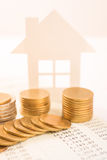 Business advertisement family home concept and growing pile coin stock images