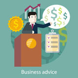 Business Advice. Cartoon Speaker on the Podium Royalty Free Stock Images