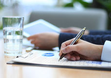 Business adviser analyzing financial figures Royalty Free Stock Photography