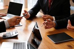 Business adviser discussing idea. professional investor have a m. Eeting. businessman working on new startup project with co-worker team royalty free stock photos
