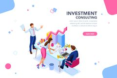 Business Adviser Team Management Concept. Business adviser team. Management of investment, meeting, account, consultant discussion. Data income graph vector illustration