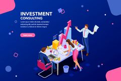 Business investment meeting Template for Website. Business adviser team. Management of investment, meeting, account, consultant discussion. Data income graph stock illustration