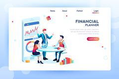 Analyst Concept Isometric Management Vector. Business adviser team. Management of investment, meeting, account, consultant discussion. Data income graph royalty free illustration