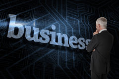 Business against futuristic black and blue background Stock Images