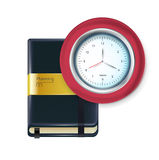 Business agenda with clock isolated Royalty Free Stock Photos
