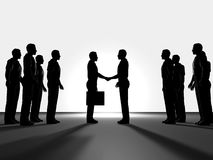 Business agreement. Business people shaking hands, computer generated rendering Stock Photography