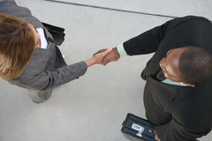 Business Agreement. Two business professionals, man and woman, shaking hands in agreement