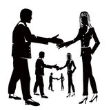 Business agreement. Illustration showing man and woman shaking hands in agreement stock illustration
