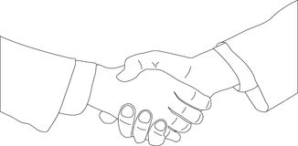 Business agreement. Hands shaking over business agreement. Vector illustration vector illustration